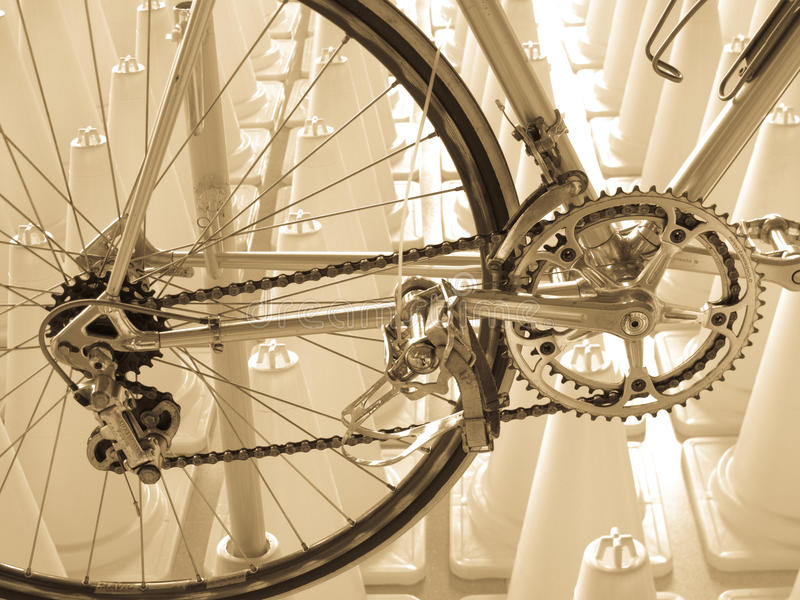 Vintage bicycle component CAMPAGNOLO: Rear derailleur, Crankset, Pedals. Equipped on a vintage bicycle royalty free stock photo