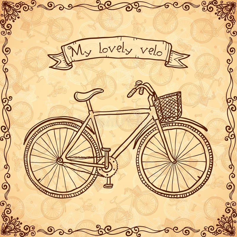 Vintage bicycle hand drawn vector card stock illustration