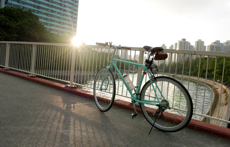 Vintage bicycle in Hong Kong residential district stock photography
