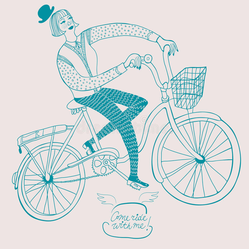 Vintage bicycle illustration. Cute drawn tandem bicycle with basket and flowers on striped background. Bicycle postcard. Love theme royalty free illustration