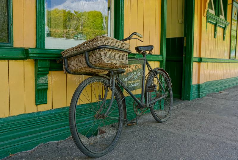 Vintage bicycle at Railway Station stock images