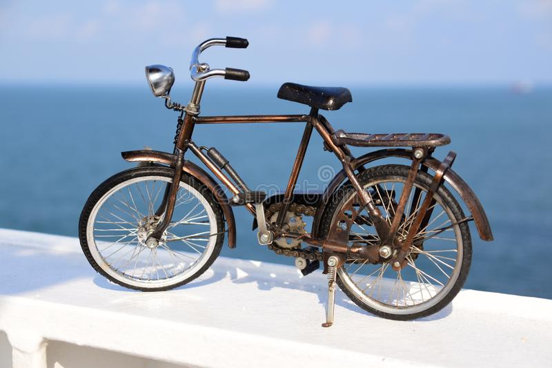 Vintage bicycle and sea panorama stock photos