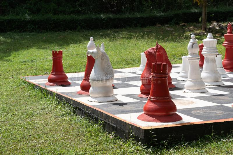Vintage big chess royalty free stock photography