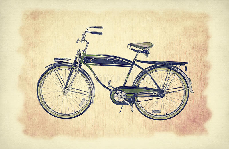 Vintage bike over old paper grunge background with delicate abstract canvas texture. Hand drawn sketch illustration of bicycle. Vintage bike over old paper stock illustration