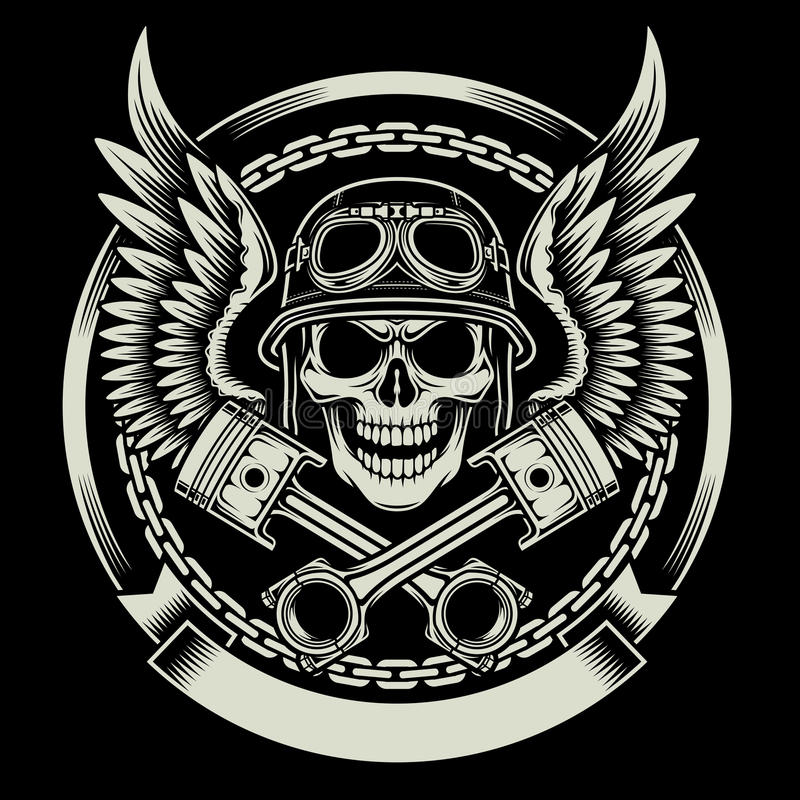 Vintage Biker Skull with Wings and Pistons Emblem vector illustration