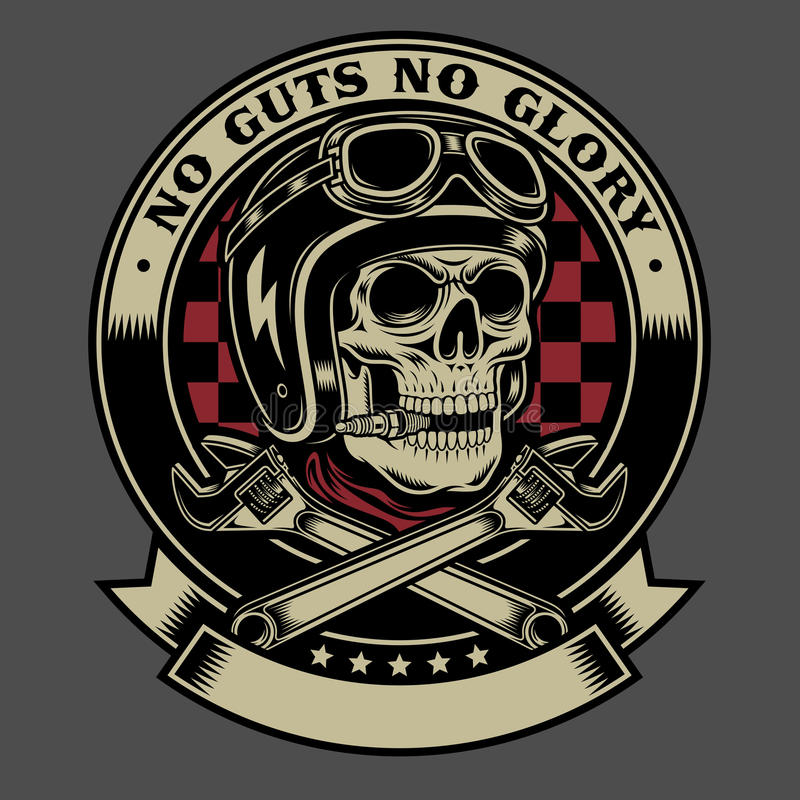 Free Vintage Biker Skull With Crossed Monkey Wrenches Emblem Royalty Free Stock Photography - 99038327
