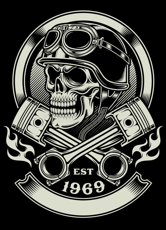 Free Vintage Biker Skull With Crossed Piston Emblem Stock Photography - 47624862