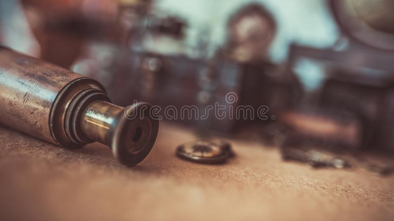 Vintage Binoculars Telescope Old Collection Photos royalty free stock images