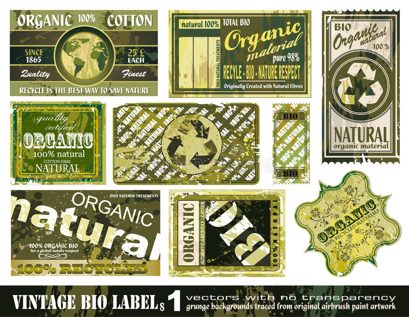 Vintage BIO Labels Collection - Set 1 Royalty Free Stock Photos