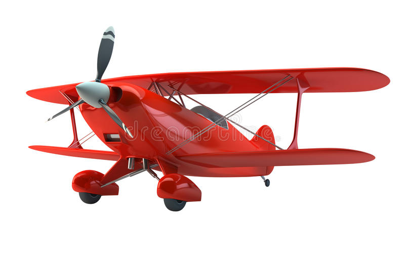 Vintage biplane. Isolated on white with clipping path royalty free illustration