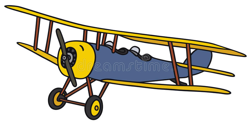 Vintage biplane. Hand drawing of a vintage biplane - not a real model royalty free illustration