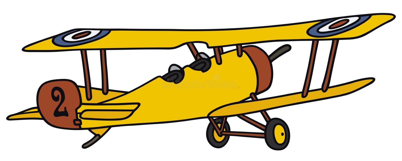 Vintage biplane. Hand drawing of a yellow vintage biplane - not a real model vector illustration
