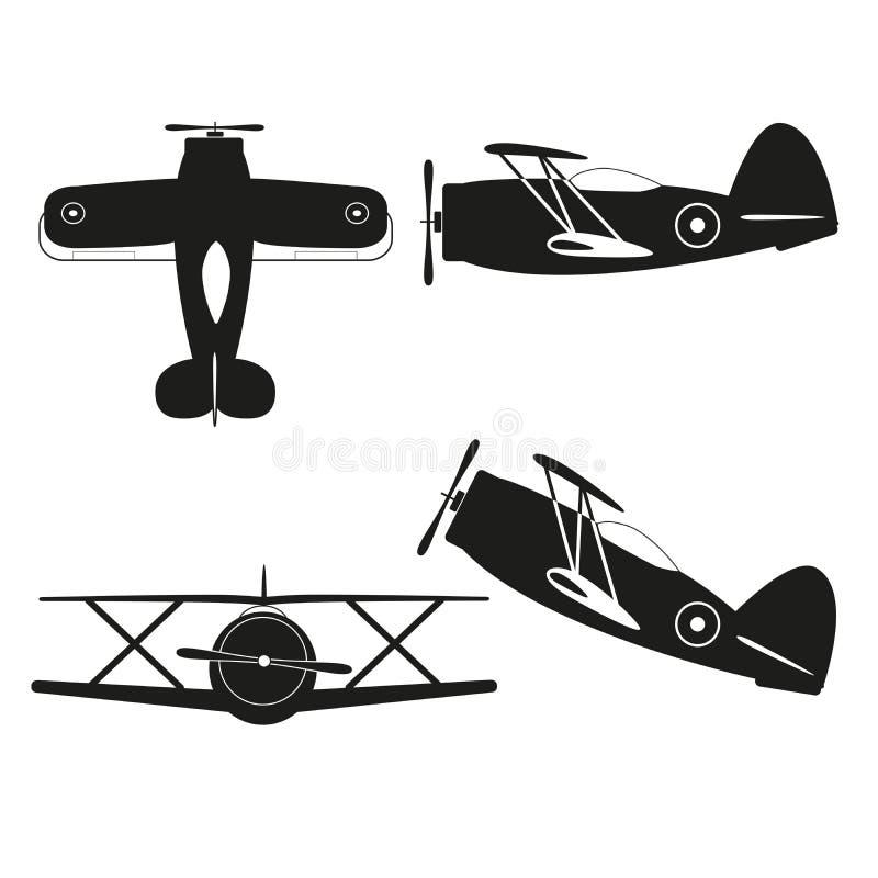 Vintage biplane. Vector illustration of vintage biplane silhouette stock illustration