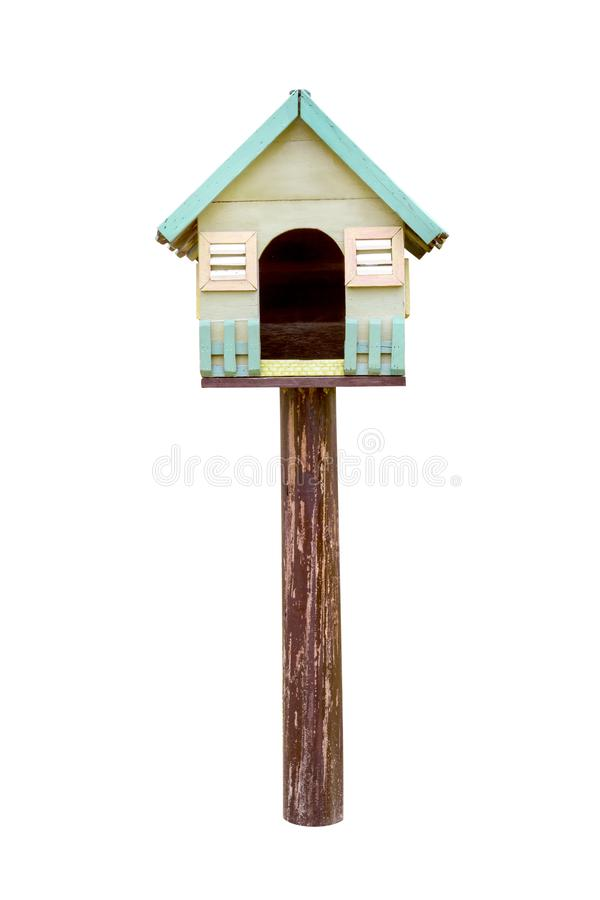 Vintage bird house isolated on white background,clipping path. Vintage bird house isolated on white background ,clipping path stock photography