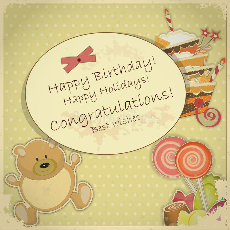 Vintage Birthday Card - with bear, candy and cake vector illustration