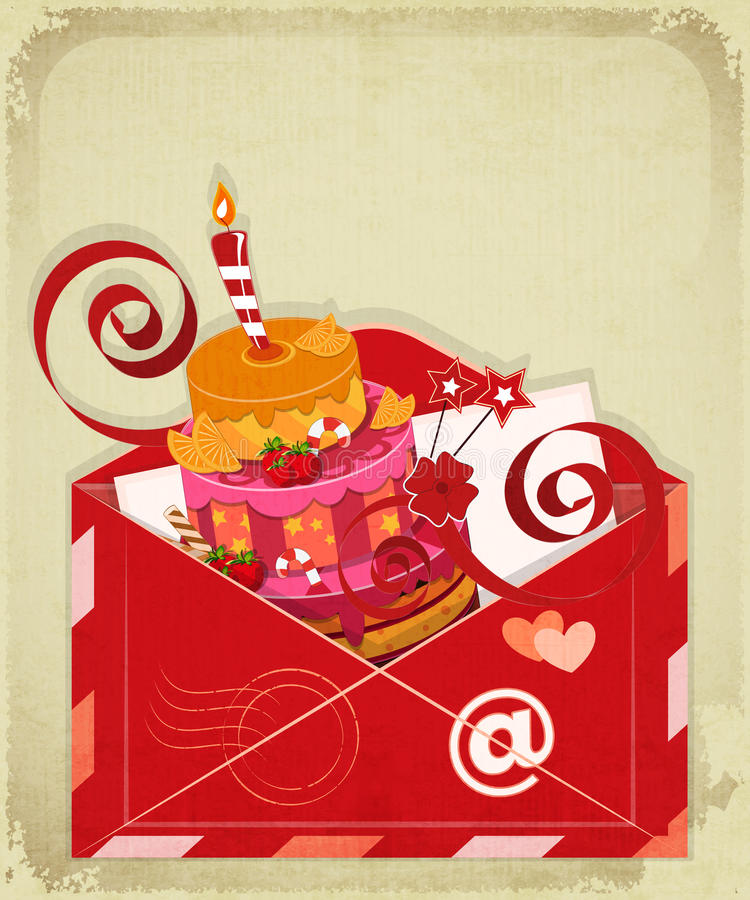 Vintage birthday card with Chocolate Berry Cake royalty free illustration