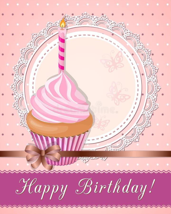 Vintage birthday card with pink cupcake on napkin stock illustration