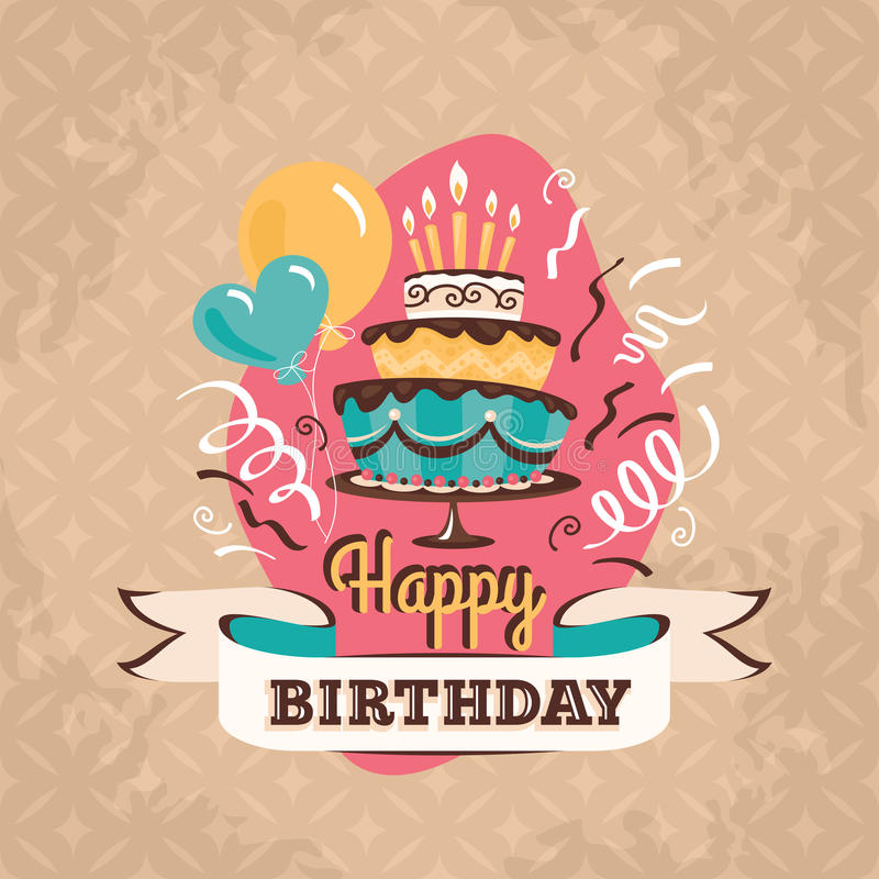 Vintage birthday greeting card with big cake vector illustration download vintage birthday greeting card with big cake vector illustration stock vector illustration of cute m4hsunfo