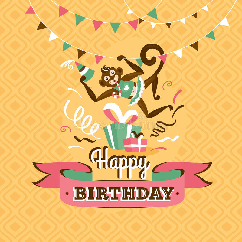 Vintage birthday greeting card with a monkey vector illustration. Vintage birthday greeting card with a monkey on a geometric retro background vector illustration