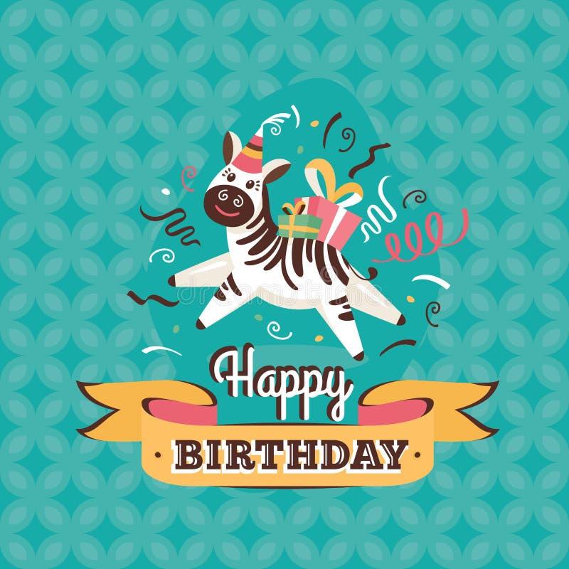 Vintage birthday greeting card with zebra vector illustration. Vintage birthday greeting card with zebra on a geometric retro background stock illustration