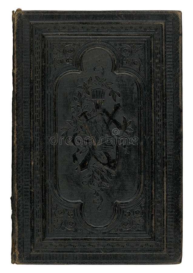 Vintage black book cover. Vintage black leather book cover isolated on white background stock photography