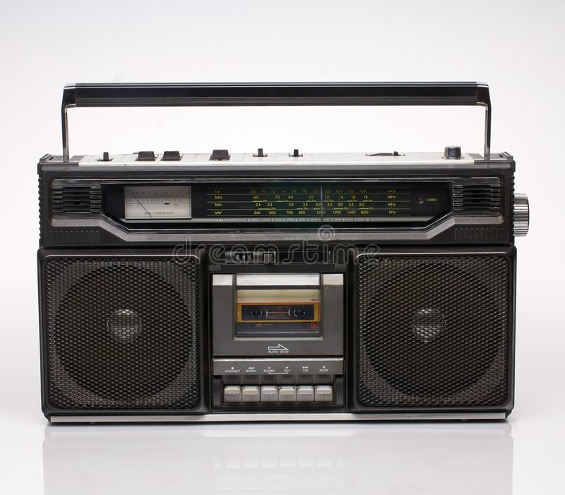 Vintage black boom box on white background. With reflection royalty free stock photos