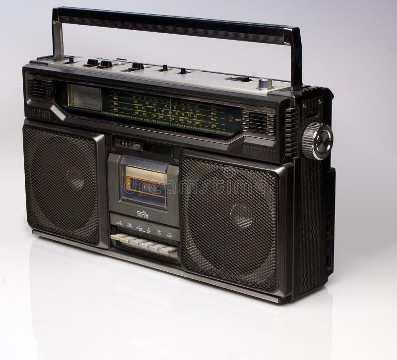 Vintage black boom box on white background royalty free stock photos