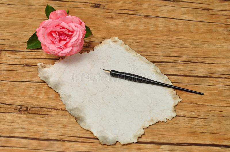 A vintage black fountain pen with old paper and a pink rose stock image