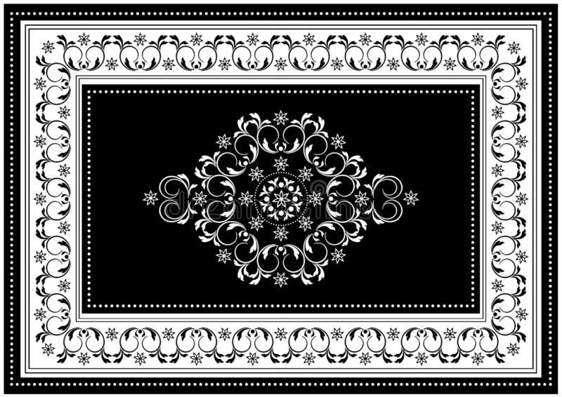 Luxury black frame with white oval ornament in the center of spiral twigs and white border with black pattern. Vintage black frame with white oval ornament in vector illustration