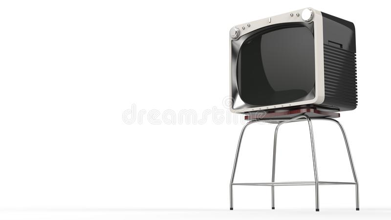 Vintage black TV set with white front on a stand. Isolated on white background royalty free illustration