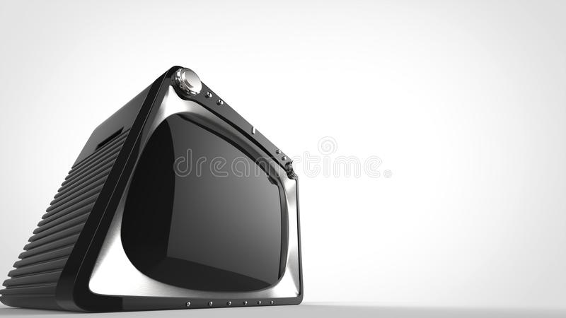 Vintage black TV - super wide angle shot. On gray background vector illustration