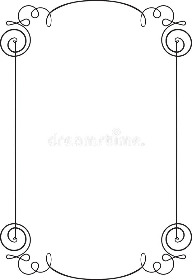 Vintage black very thin, simple, elegant frame with empty place royalty free illustration
