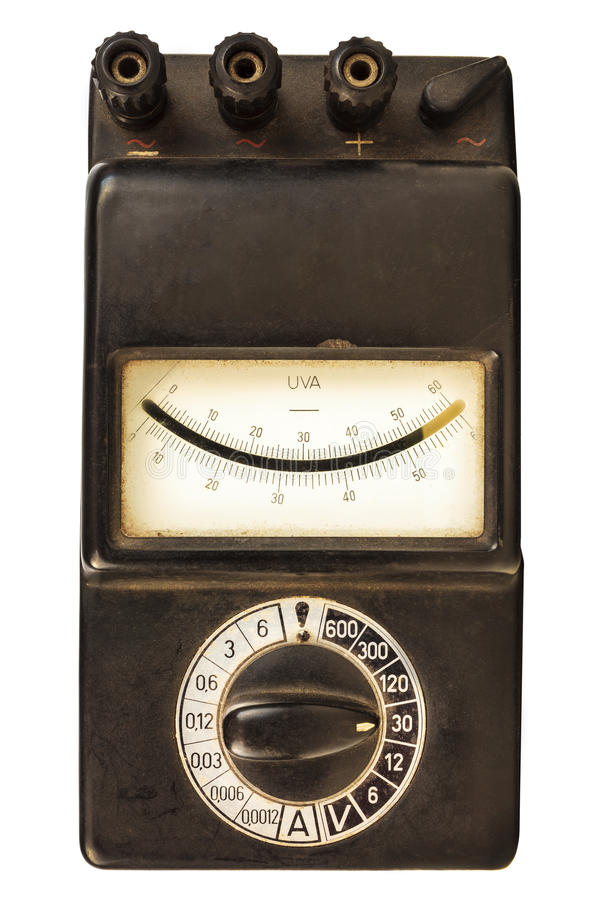 Vintage black volt meter isolated on white stock photo