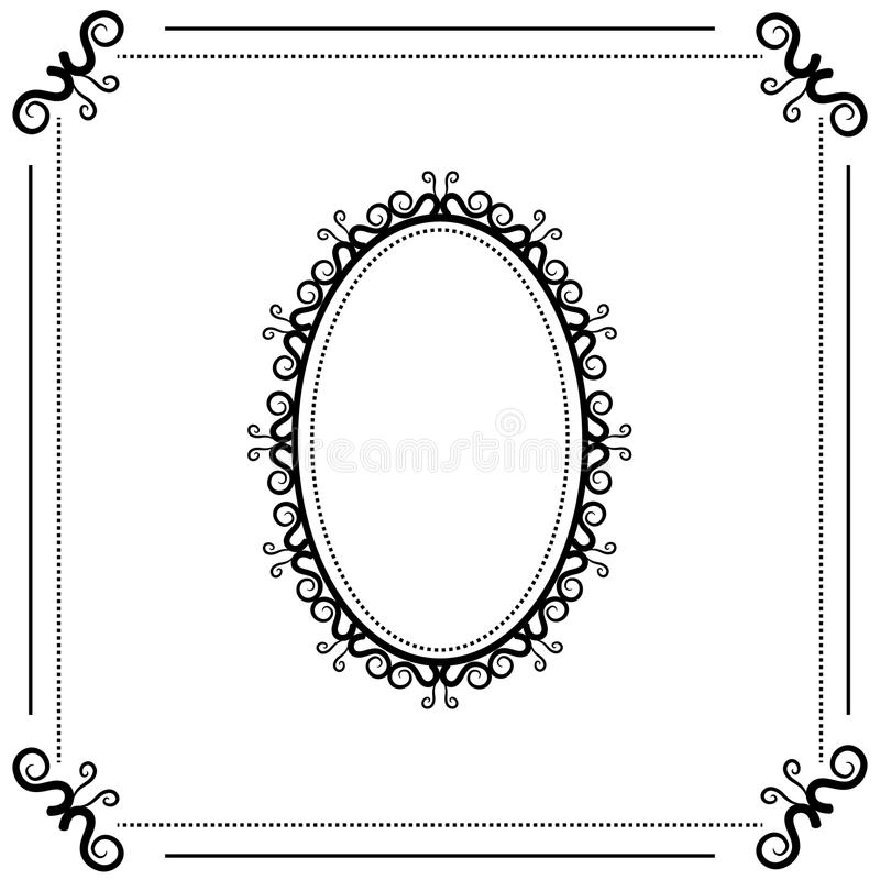 Download Vintage Black And White Background With Oval Frame Stock Vector