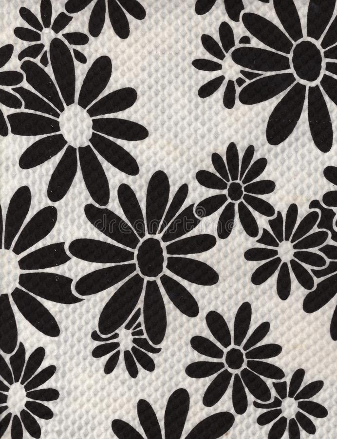 Vintage Black and White Daisy Fabric Background. Fabric is from the 60's royalty free stock image