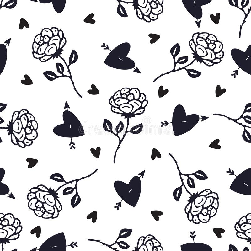 Vintage black and white roses background. Floral seamless pattern. Rose flowers and hearts pattern for textile design stock illustration