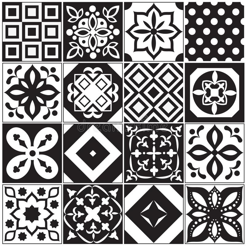 Vintage black and white traditional ceramic floor tile patterns vector collection. Ceramic pattern traditional floor background square illustration vector illustration