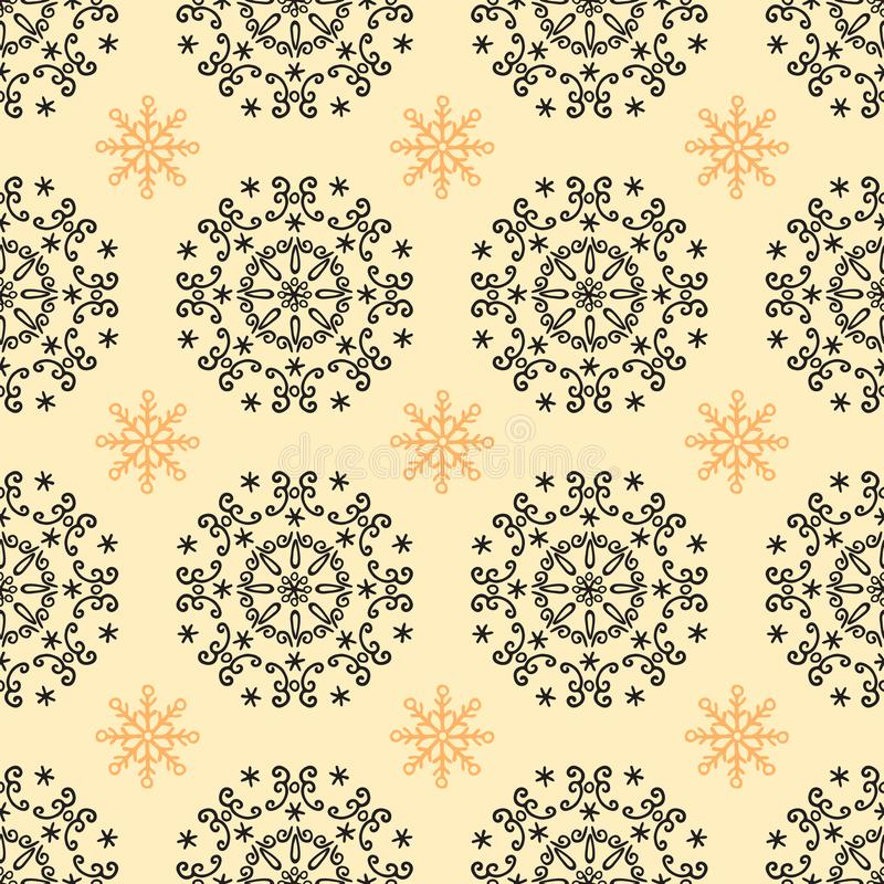 Vintage black and yellow geometrical floral seamless pattern stock illustration