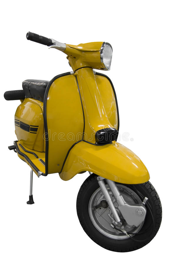 Vintage black and yellow scooter (path included) stock images