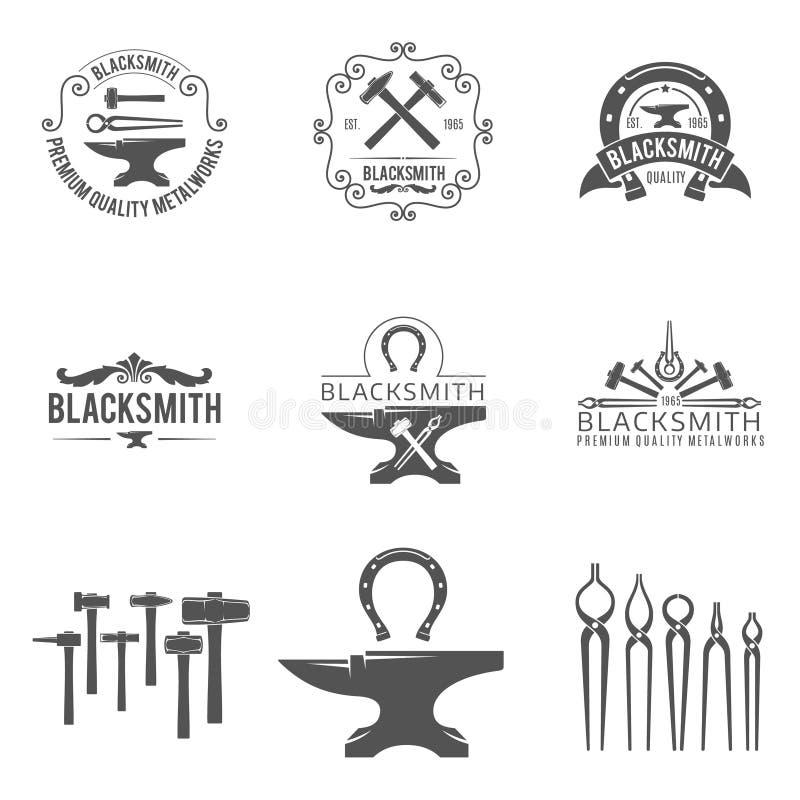 Blacksmith Vintage Emblems:  Vintage Blacksmith And Metalworks Logos, Emblems Stock