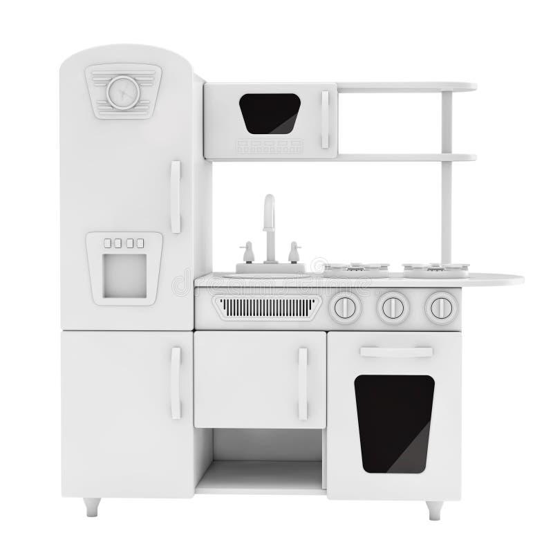 Vintage blanco Toy Kitchen en Clay Style representación 3d stock de ilustración