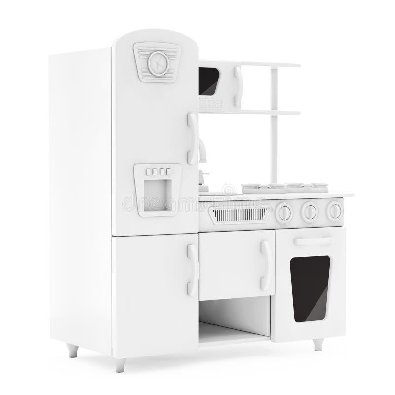 Vintage blanco Toy Kitchen en Clay Style representación 3d libre illustration