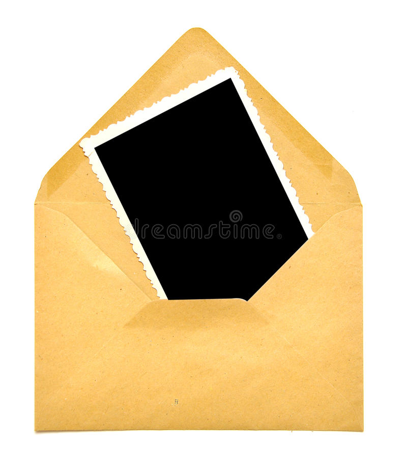 Vintage Blank Photo Frame On Envelope Stock Photos