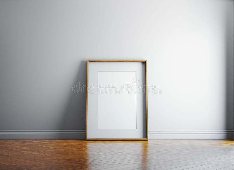 Vintage blank picture frame and sunlight on a wall. 3d render royalty free illustration