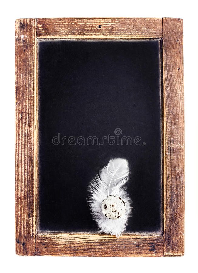 Vintage Blank slate chalk board isolated on white background wit stock photos