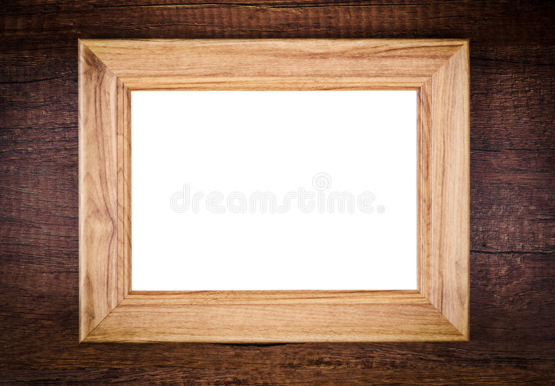 Vintage of blank wooden photo frame stock photo