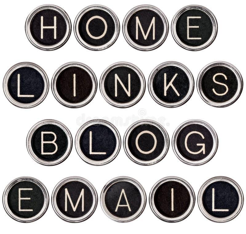 Vintage Blog, Home, Links and Email Keys stock images