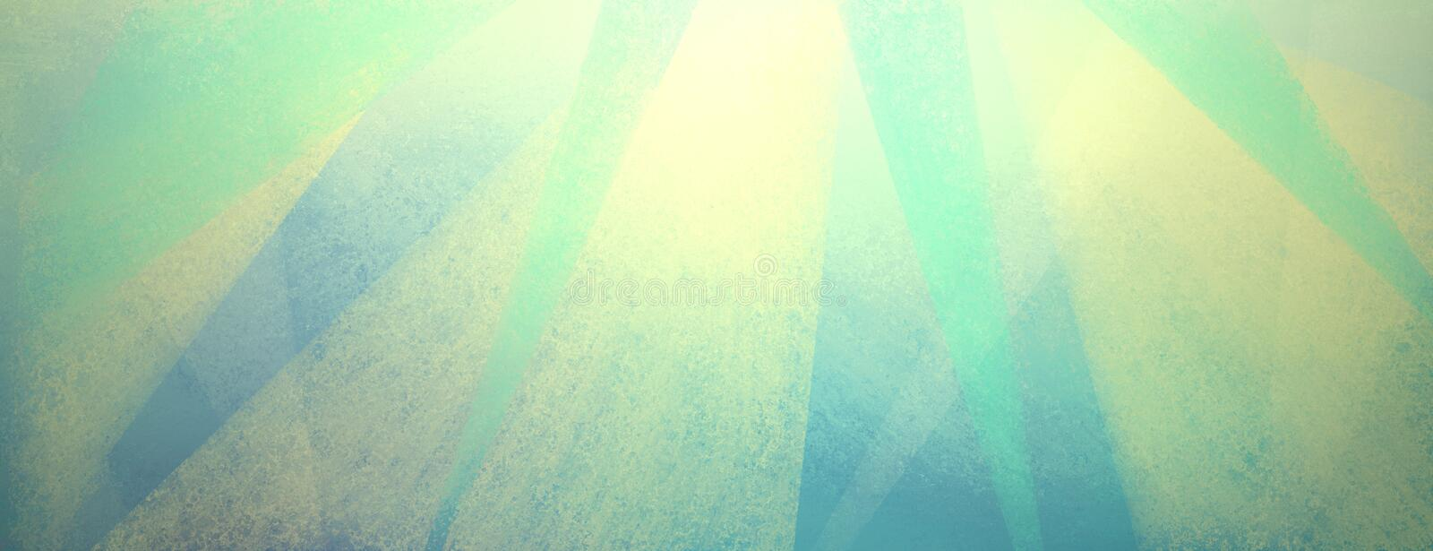 Vintage blue background with distressed light yellow and green stripes and triangles stock photos