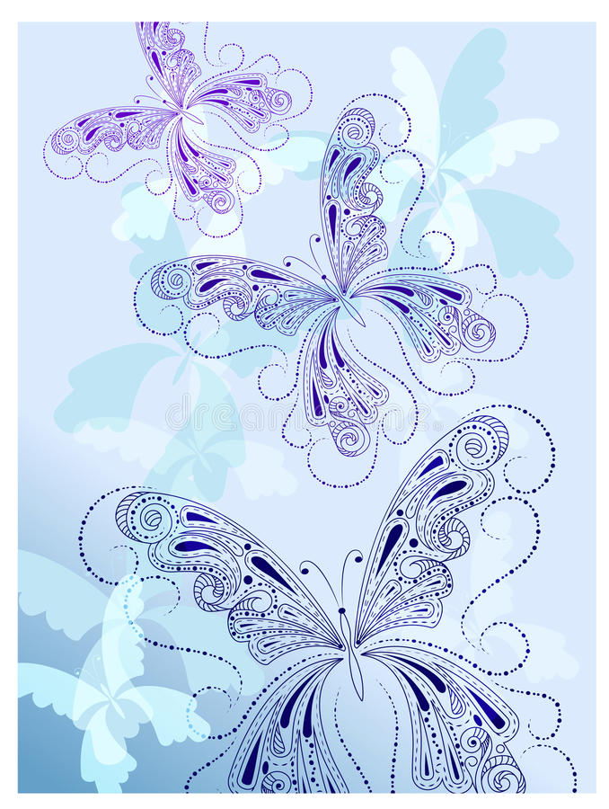 Vintage blue butterflies royalty free stock photography