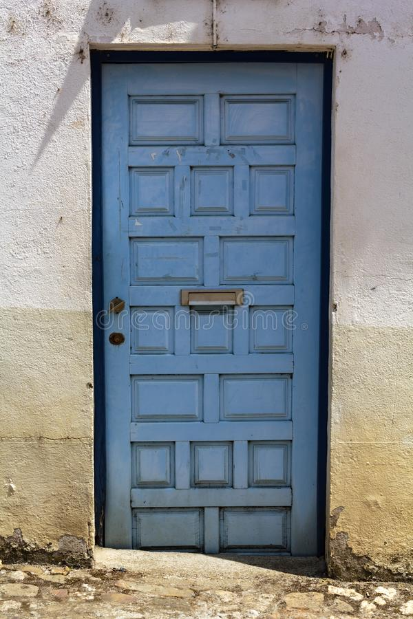 Blue door with mailbox. Vintage Blue door with mailbox stock photography